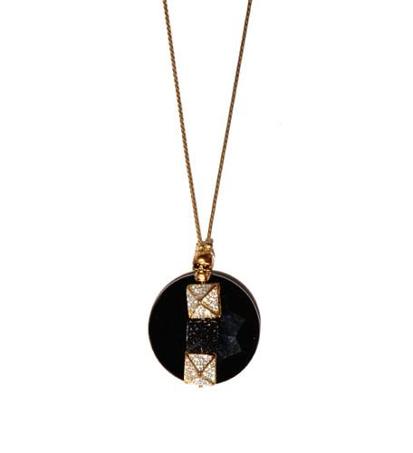 Glynneth B Jewelry Gold Onyx Crystal Skull Necklace