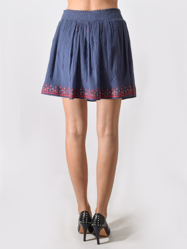 Love Sam Embroidered Skirt in Smokey Blue