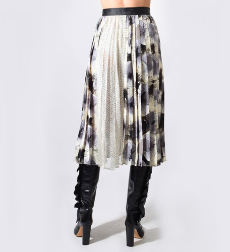 Verdad Pleated Skirt with Leather