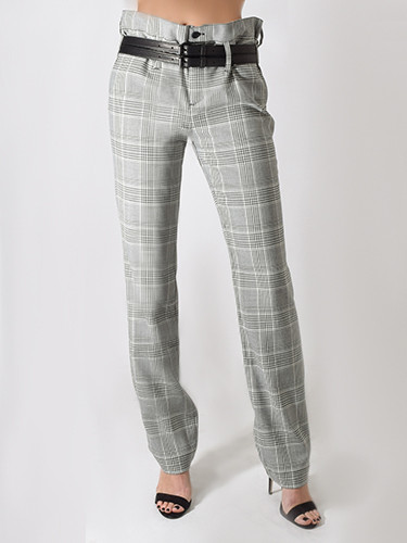 Dillon Belted Trouser in Light Grey Plaid