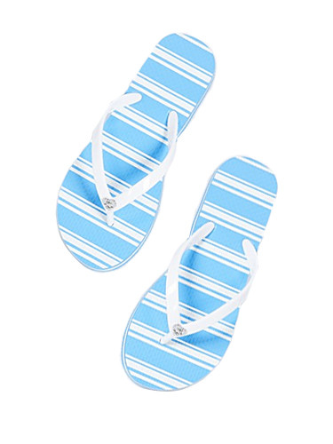 Alice & Olivia Eva Flip Flop in White & Blue