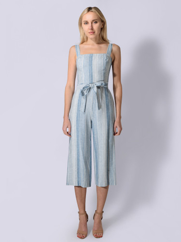 207acf024375 Lavender Brown. Striped Jumpsuit in Light Blue   Ivory