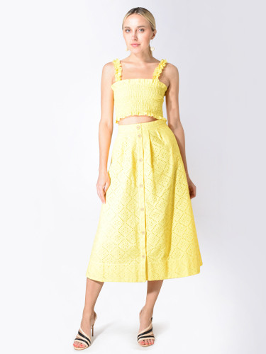 Karina Grimaldi Venus Eyelet Smocked Crop Top in Yellow