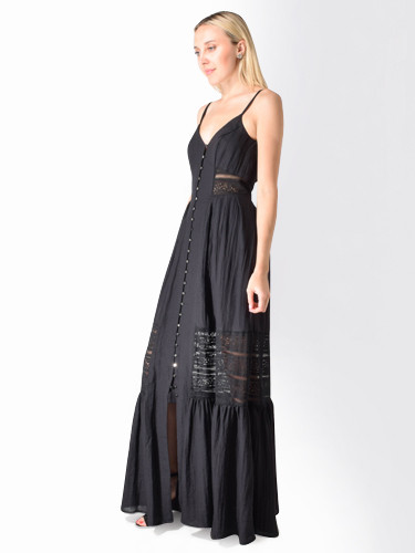 Sabina Musayev Giselle Embroidered Button Front Dress in Black
