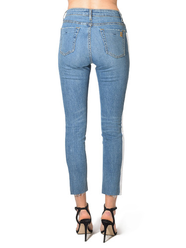 Jet John Eshaya Slim Raw Hem Jean w/ Side Tape in White