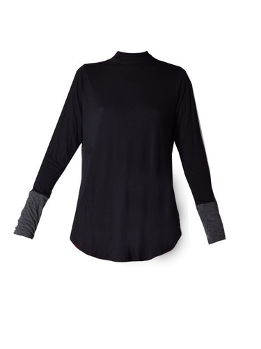 JET Jersey Two Tone Mock Neck T In Black