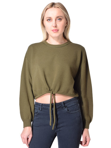 X1Alice + Olivia Bernetta Cropped Pullover Sweater with Drawstring In OliveX2