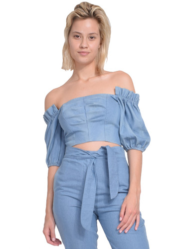 Karina Grimaldi Martha Denim Top Front View  X1https://cdn11.bigcommerce.com/s-3wu6n/products/33193/images/109460/5__25483.1590180057.244.365.jpg?c=2X2