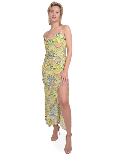 ALICE + OLIVIA Harmony Slip Dress with Slit in Wildflower Daffodil Front View X1https://cdn11.bigcommerce.com/s-3wu6n/products/33202/images/109486/39__54386.1590180666.244.365.jpg?c=2X2