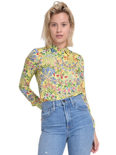 ALICE + OLIVIA Willa Placket Top in Wildflower Daffodil Front View  X1https://cdn11.bigcommerce.com/s-3wu6n/products/33203/images/109491/43__61821.1590180725.244.365.jpg?c=2X2