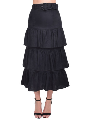 Capulet Paula Belted Midi Skirt in Black Front View  X1https://cdn11.bigcommerce.com/s-3wu6n/products/33208/images/109523/73__13869.1590615431.244.365.jpg?c=2X2