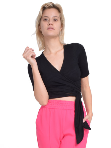 Rachel Pally Rib Wrap Top in Black Front View  X1https://cdn11.bigcommerce.com/s-3wu6n/products/33213/images/109505/26__50550.1590181201.244.365.jpg?c=2X2