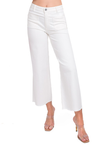 Ottod'Ame Cropped Flare Jeans in White Front View  X1https://cdn11.bigcommerce.com/s-3wu6n/products/33261/images/110005/56__28433.1594329712.244.365.jpg?c=2X2
