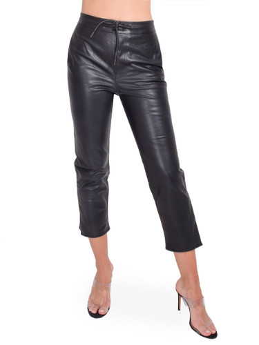 RtA Matisse Pants in Black Leather Front View  X1https://cdn11.bigcommerce.com/s-3wu6n/products/33301/images/109856/122__17367.1594164720.244.365.jpg?c=2X2