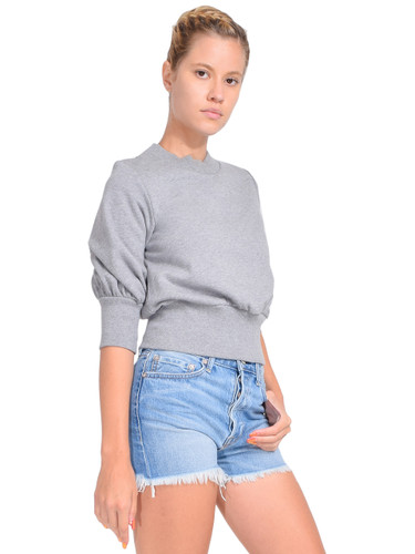 3.1 Phillip Lim Puff-Sleeve Cropped Sweatshirt in Grey Melange Side View