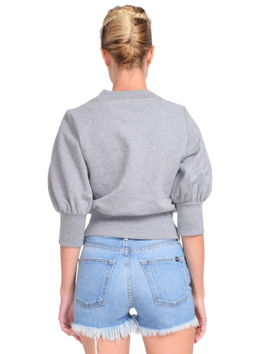 3.1 Phillip Lim Puff-Sleeve Cropped Sweatshirt in Grey Melange Back View