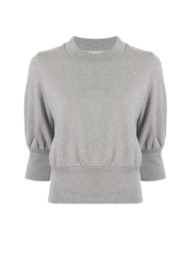 3.1 Phillip Lim Puff-Sleeve Cropped Sweatshirt in Grey Melange Product Shot