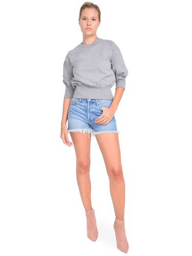3.1 Phillip Lim Puff-Sleeve Cropped Sweatshirt in Grey Melange Full Outfit