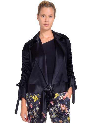 CINQ A SEPT Cropped Aziza Jacket in Black Front View  X1https://cdn11.bigcommerce.com/s-3wu6n/products/33404/images/110468/173__47904.1600742117.244.365.jpg?c=2X2