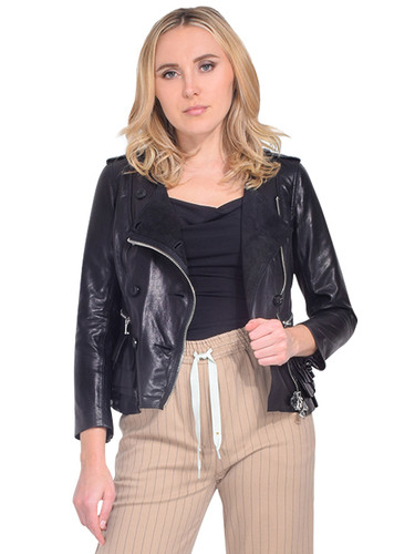 3.1 PHILLIP LIM Leather Moto Jacket with Tiered Ruffle Hem Front View