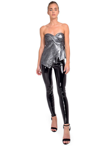 RTA Nelly Asymmetrical Bustier Top in Steel Full Outfit