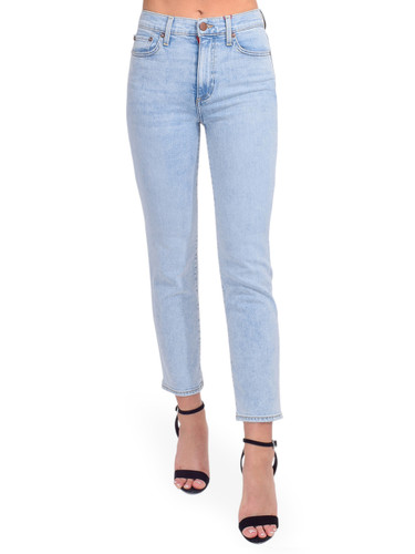 ALICE + OLIVIA Stunning High Rise Straight Leg in Baby Blues Front View  x1https://cdn11.bigcommerce.com/s-3wu6n/products/33806/images/112324/DSC_0475__57456.1616458074.244.365.jpg?c=2x2