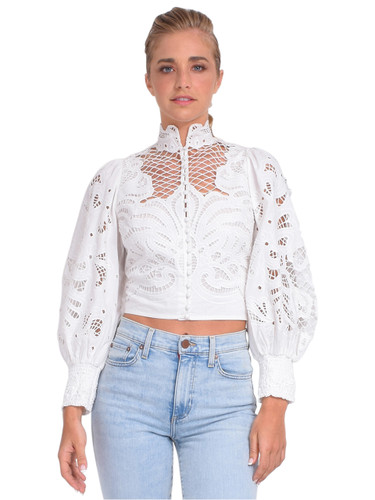 Alice + Olivia Yaz Eyelet Crop Blouse Front View x1https://cdn11.bigcommerce.com/s-3wu6n/products/33894/images/112764/DSC_0034-2_Full__60750.1618453200.244.365.jpg?c=2x2