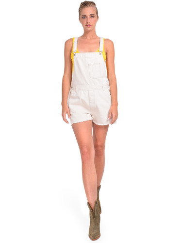 Bellerose Pachita Overall Shorts in Natural Front View x1https://cdn11.bigcommerce.com/s-3wu6n/products/33909/images/112851/DSC_0591-2__95557.1618879952.244.365.jpg?c=2x2