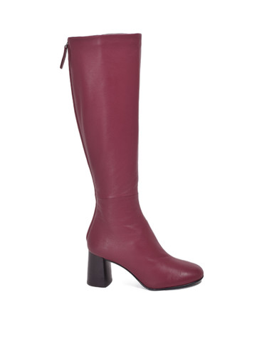 3.1 PHILLIP LIM Nadia Leather Knee Boots in Burgundy Side View