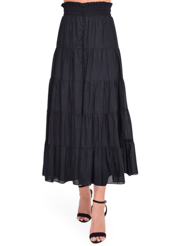 Alice + Olivia Aisha Button Front Midi Skirt in Black Front View