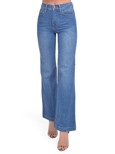 Alice + Olivia Liza Mid Rise Straight Ankle Jean in Best Intentions Front View