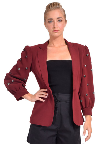 Cinq à Sept Amie Jeweled Blazer in Sangria Front View
