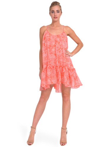 MISA Dahl Mini Dress in Coral Summer Paisley Front View 1