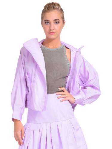 3.1 Phillip Lim Taffeta Hooded Boxing Jacket in Lavender Front View