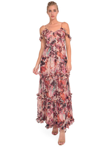 MISA Avery Maxi Dress in Floradream Straps off Shoulder Front view 1