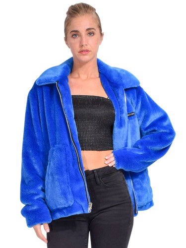 RtA Reese Zip Up Jacket in Magnetic Blue Front View