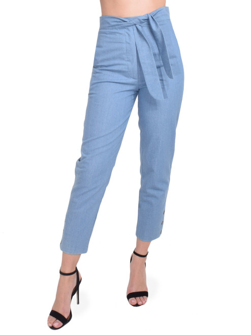 Karina Grimaldi Stella Denim Pants Front View  X1https://cdn11.bigcommerce.com/s-3wu6n/products/33192/images/109455/7__81012.1590179960.244.365.jpg?c=2X2