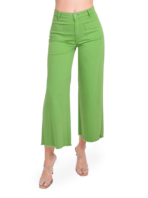 Ottod'Ame Cropped Flare Jeans in Green Front View  X1https://cdn11.bigcommerce.com/s-3wu6n/products/33262/images/109920/156__27645.1594256463.244.365.jpg?c=2X2