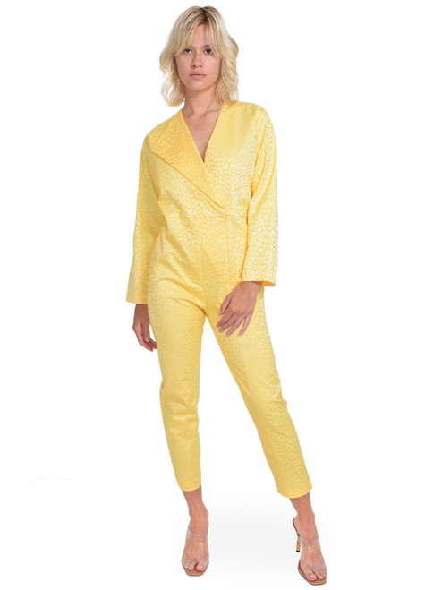MICHELLE MASON Leopard Boiler Suit in Butter Front View  X1https://cdn11.bigcommerce.com/s-3wu6n/products/33305/images/109911/132__53542.1594252050.244.365.jpg?c=2X2