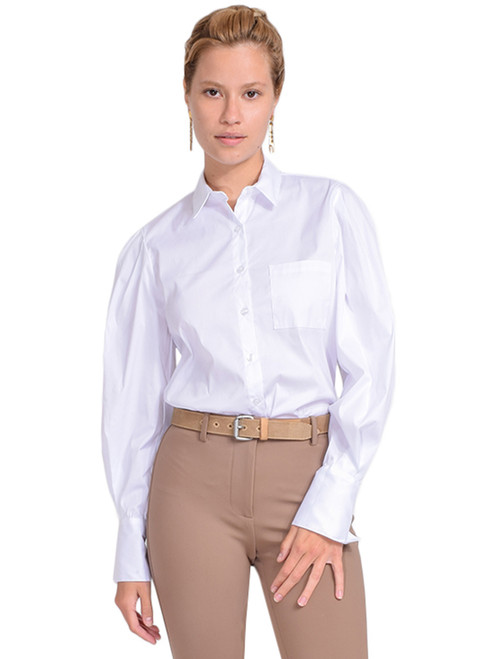PAIRE Diane Classic Button Down Shirt in White Front View  X1https://cdn11.bigcommerce.com/s-3wu6n/products/33334/images/110106/42__24707.1597441665.244.365.jpg?c=2X2