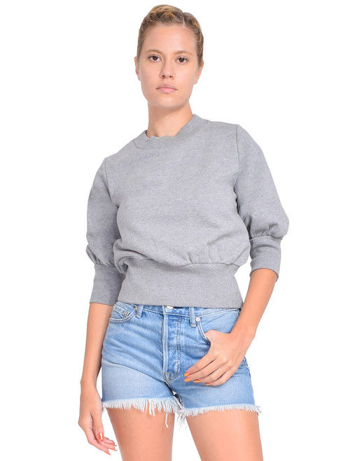 3.1 Phillip Lim Puff-Sleeve Cropped Sweatshirt in Grey Melange Front View  X1https://cdn11.bigcommerce.com/s-3wu6n/products/33385/images/110372/78__53424.1599876027.244.365.jpg?c=2X2