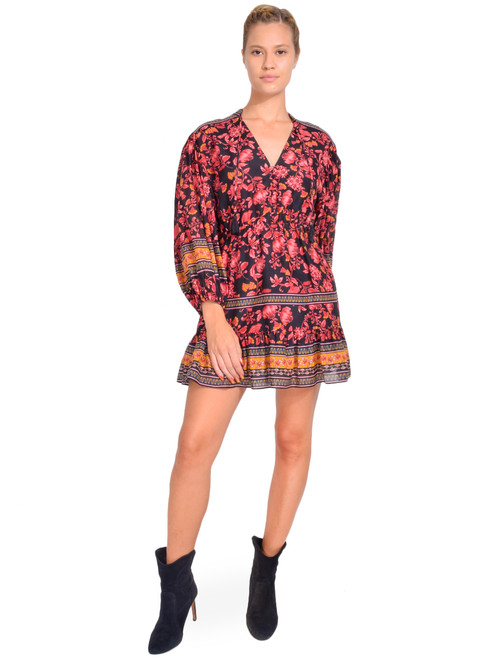 Alice + Olivia Sedona Floral Mini Dress in Fall Into You Black Multi Front View  X1https://cdn11.bigcommerce.com/s-3wu6n/products/33393/images/110399/121__98785.1600292490.244.365.jpg?c=2X2
