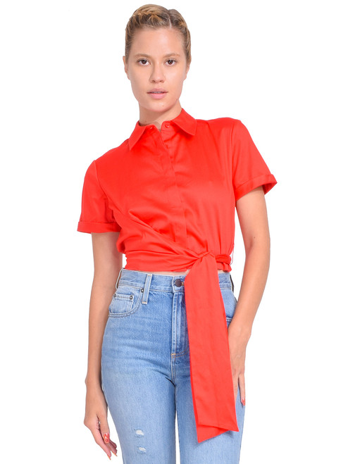 Alice + Olivia Naomi Tie Front Top in Bright Poppy Front View  X1https://cdn11.bigcommerce.com/s-3wu6n/products/33395/images/110409/130__08936.1600303343.244.365.jpg?c=2X2
