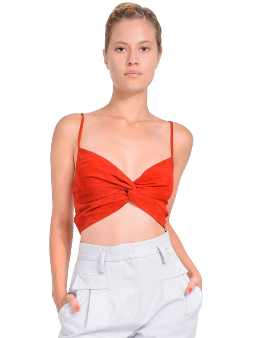 MICHELLE MASON Twist Knot Top in Cayenne Front View  X1https://cdn11.bigcommerce.com/s-3wu6n/products/33412/images/110508/1__80849.1601233975.244.365.jpg?c=2X2