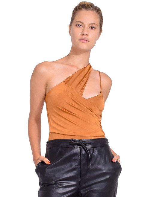MICHELLE MASON Asymmetrical Gathered Bodysuit in Toffee Front View X1https://cdn11.bigcommerce.com/s-3wu6n/products/33419/images/110540/36__09475.1601345574.244.365.jpg?c=2X2