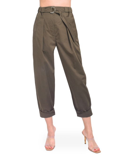 3.1 Phillip Lim Twill Belted Utility Pants in Olive  Front View
