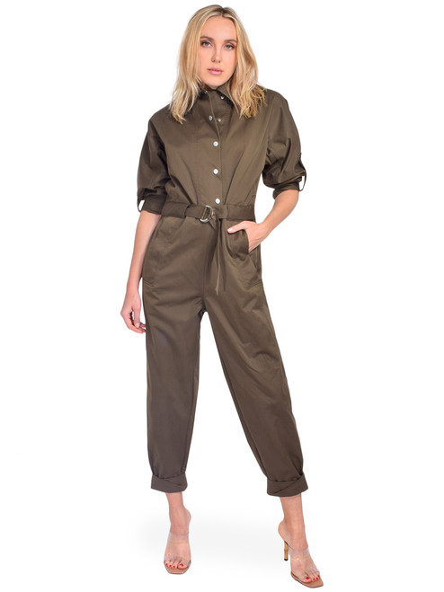 3.1 Phillip Lim Twill Utility Jumpsuit in Olive Front View X1https://cdn11.bigcommerce.com/s-3wu6n/products/33478/images/110716/109__87442.1603145400.244.365.jpg?c=2X2