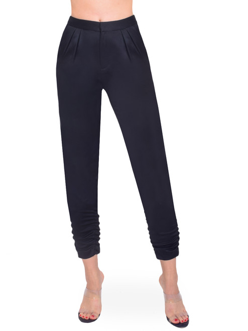 ALICE + OLIVIA Samuel Pleated Pant with Ruched Ankle Front View  X1https://cdn11.bigcommerce.com/s-3wu6n/products/33508/images/110857/10__88350.1604531602.244.365.jpg?c=2X2