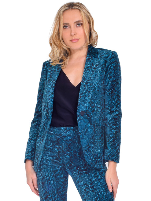 MISA Catroux Jacket in Teal Snake Front View  X1https://cdn11.bigcommerce.com/s-3wu6n/products/33543/images/111013/79__70208.1605581921.244.365.jpg?c=2X2
