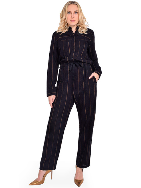 HUMANOID Vayah Striped Jumpsuit Front View X1https://cdn11.bigcommerce.com/s-3wu6n/products/33546/images/111031/DSC_0028__71001.1605928909.244.365.jpg?c=2X2